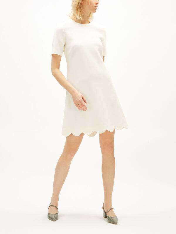 Scallop Hem Crepe Shift Dress