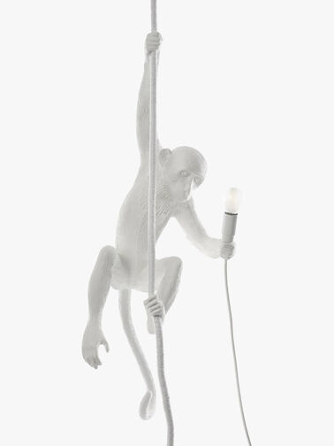 Monkey With Rope Lamp White