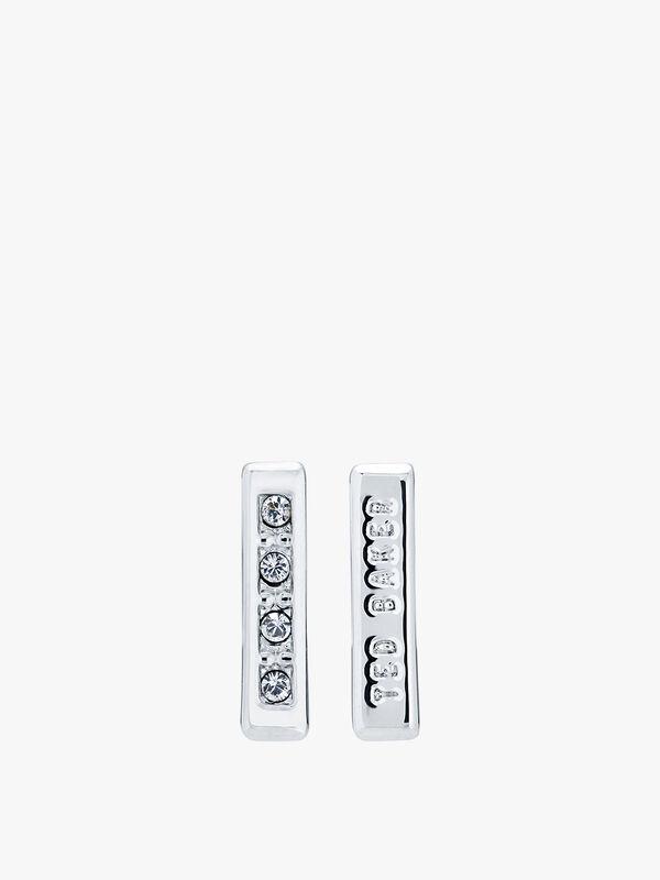 Banzi Pave Logo Bar Stud Earrings