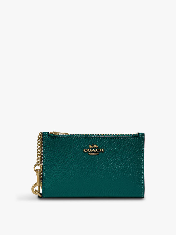 Colorblock Leather Zip Chain Card Case