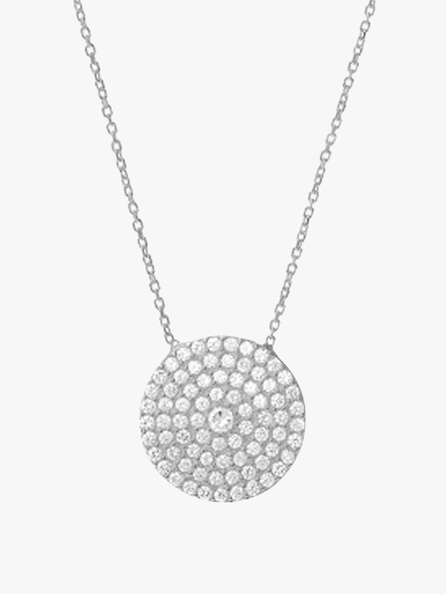 Large Clear Crystal Pave Disc Necklace