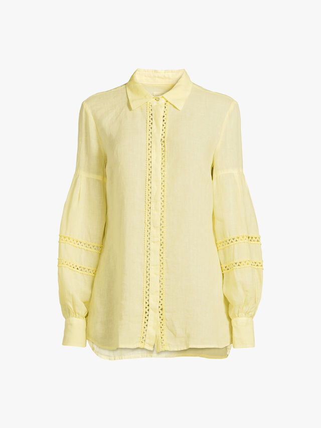 Embellished Detail Balloon Sleeve Linen Shirt