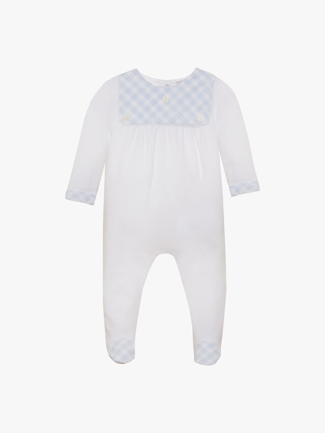 Gingham Front Baby Grow