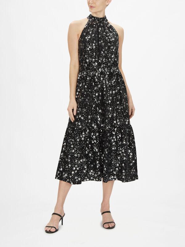 Embellished Velvet Halterneck Dress