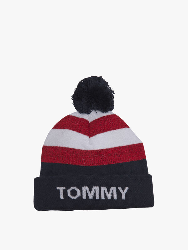 Graphic Colour-Blocked Bobble Beanie