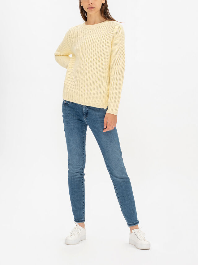 Crew Neck Textured Long Sleeve Knit
