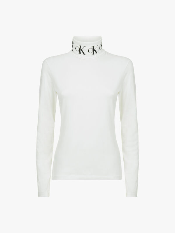 Monogram Tape Roll Neck Long Sleeve Tee
