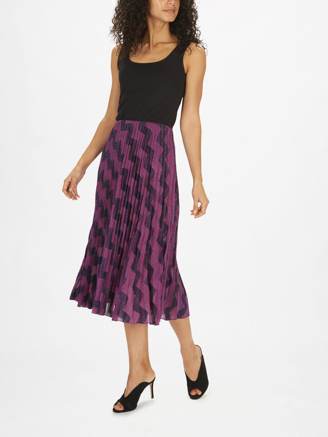 Zig Zag Pleat Knee Length Skirt