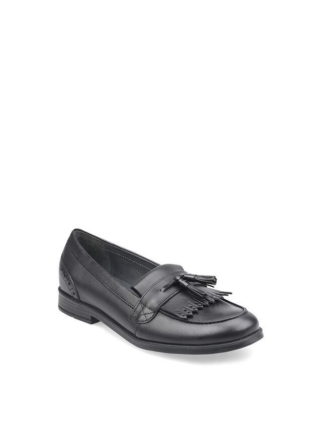 Sketch Black Leather School Shoes