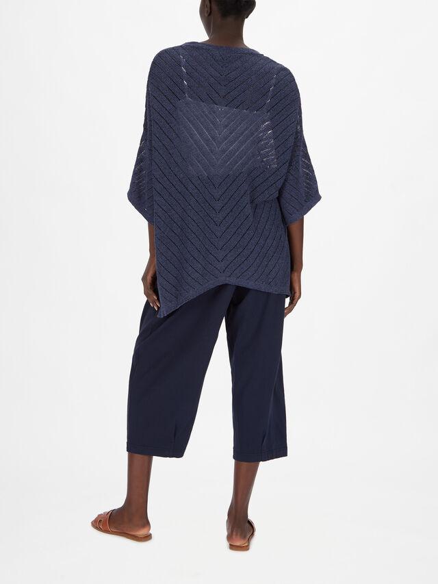 Femli Batwing Short Sleeve Diagonal Crochet Stripe Knit