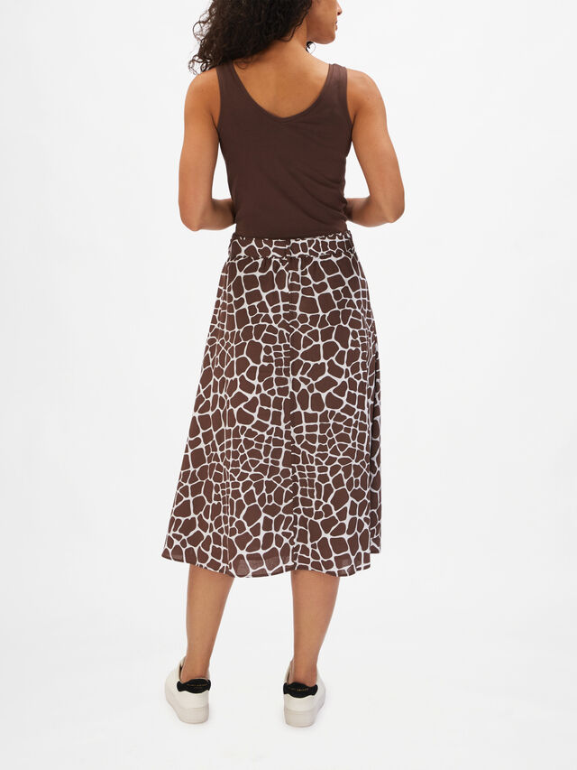 Cotton Giraffe Print Midi A Line Belted Skirt