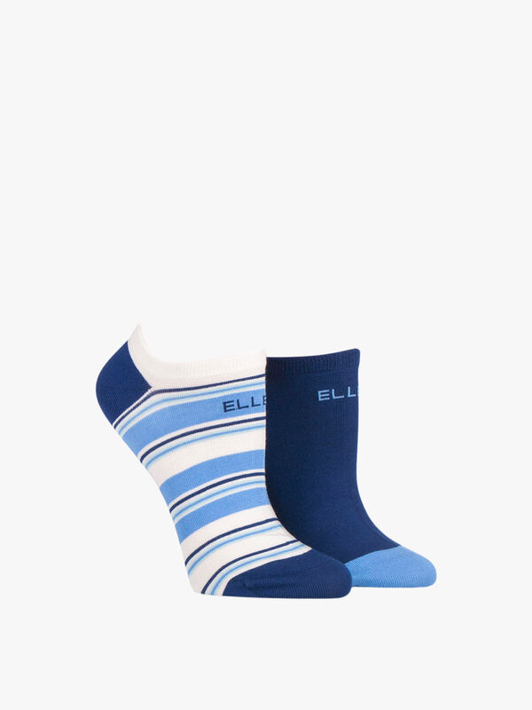 2 Pair Pack Striped Bamboo Trainer Socks