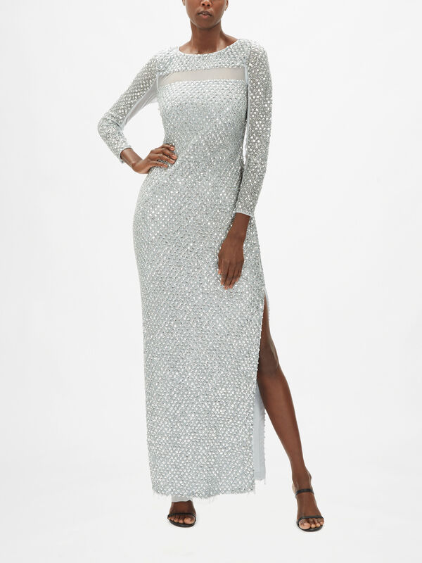 Fully Beaded Long Sleeve Gown