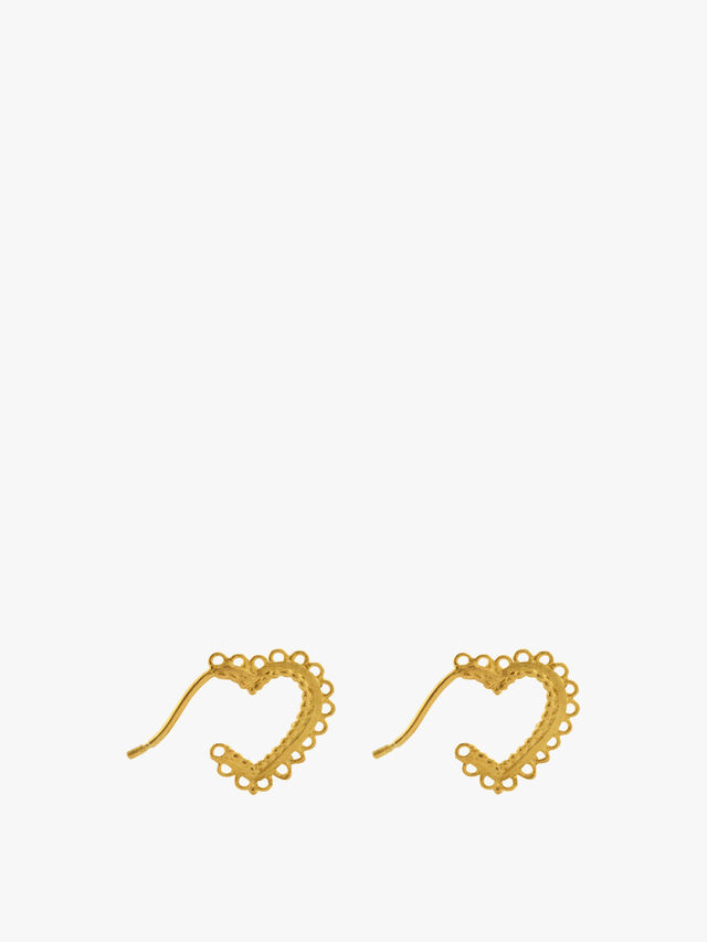 Small Lace-Edged Heart Hoop Earrings