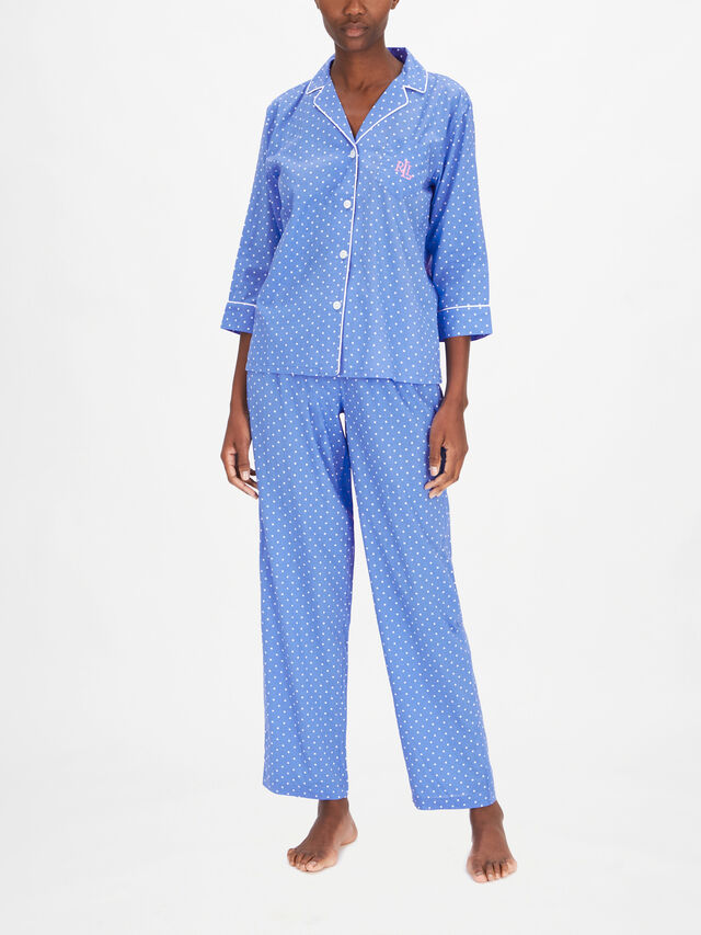 3/4 Slv Notch Collar Long Pant PJ Set