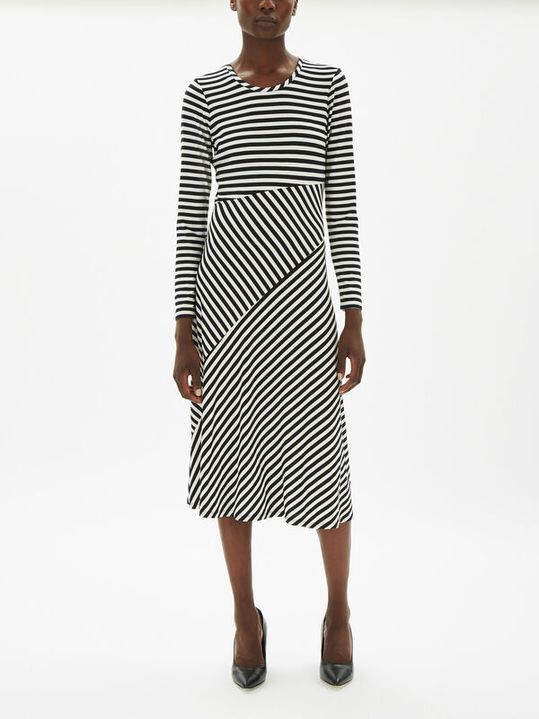 Candy Stripe Print Long Sleeve Dress