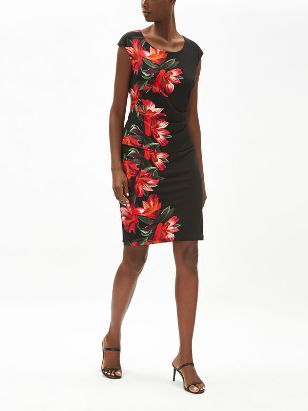 Orchid Print Overlay Dress