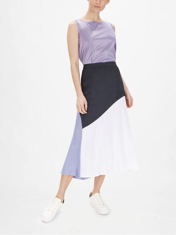 Roncola Colourblock Satin Midi Skirt