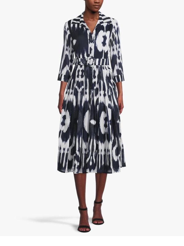 3/4 Sleeve Nordic Ikat Midi Dress
