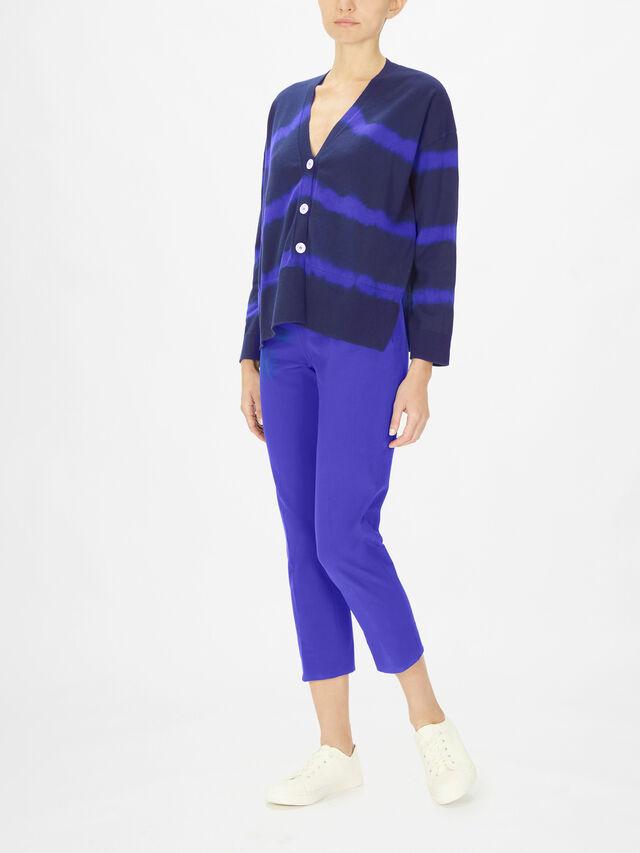 Tie Dye Stripe Fine Knit Cardigan