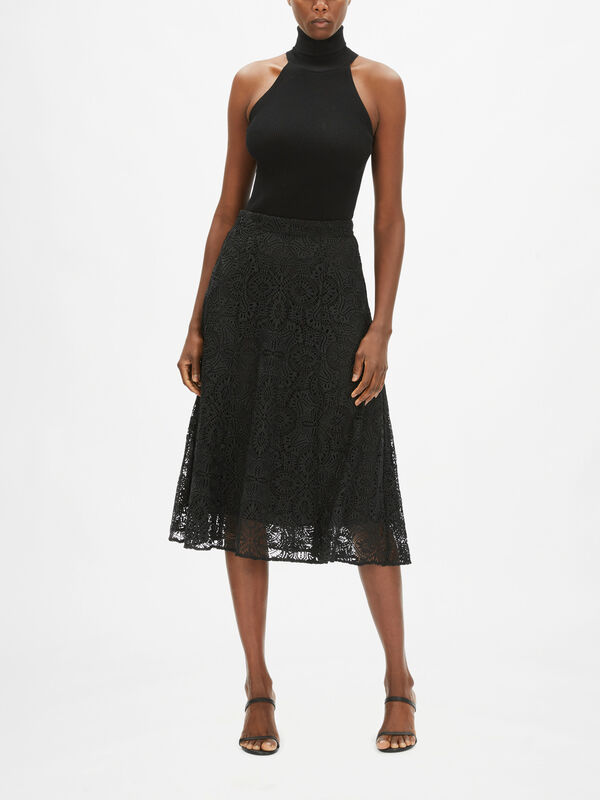 Lux Medallion Lace Midi Skirt