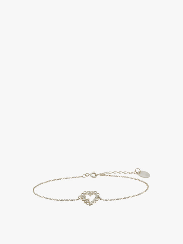 Lace-Edged Heart & Flower In-Line Bracelet