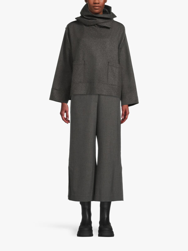 Wool Mix Dramatic Funnel Neck Top