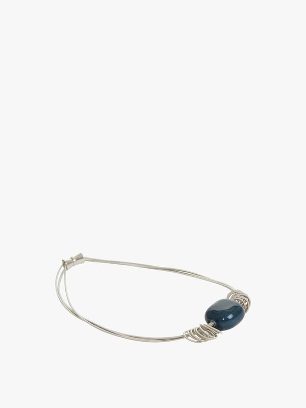 Navy Pebble Necklace with Silver Wire
