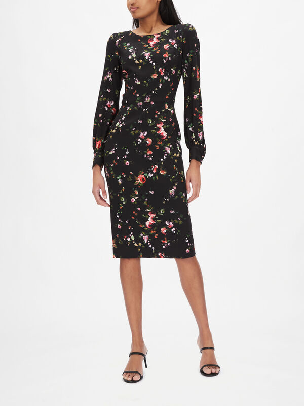 Black Rosebud Printed Long Sleeve Pencil Dress
