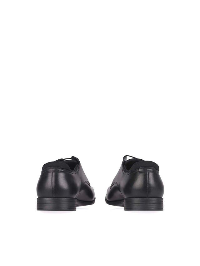 Academy Black Leather School Shoes