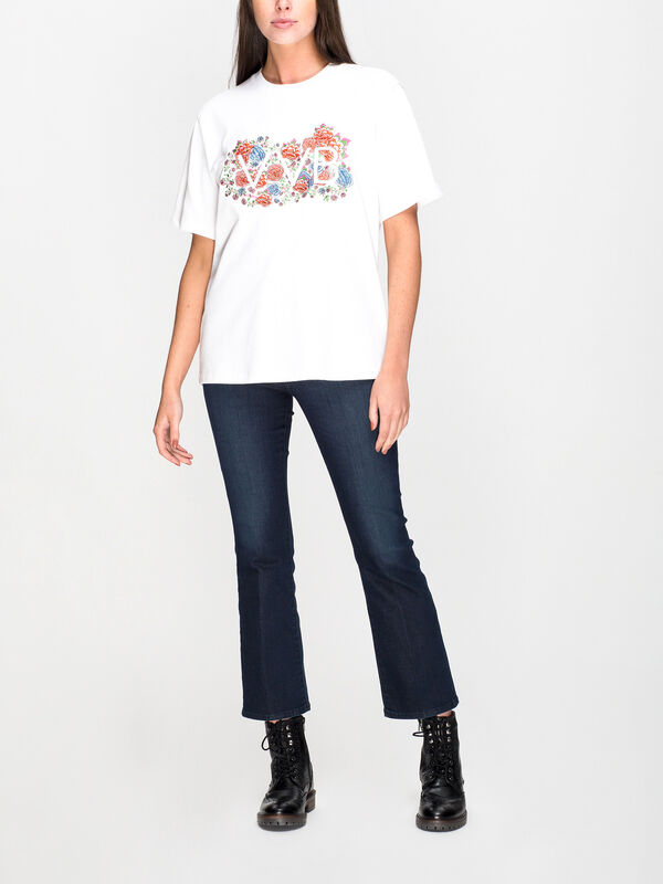 Embroidered Floral Logo T-Shirt