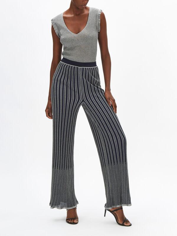 Lurex Stripe Rib Knit Trouser