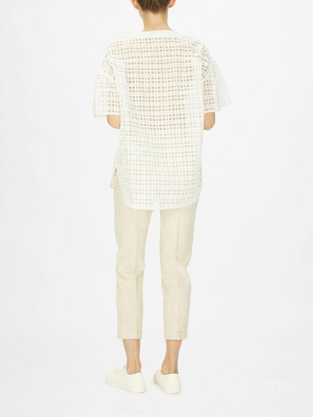 Sheer Lattice Print Detail Cotton T-Shirt