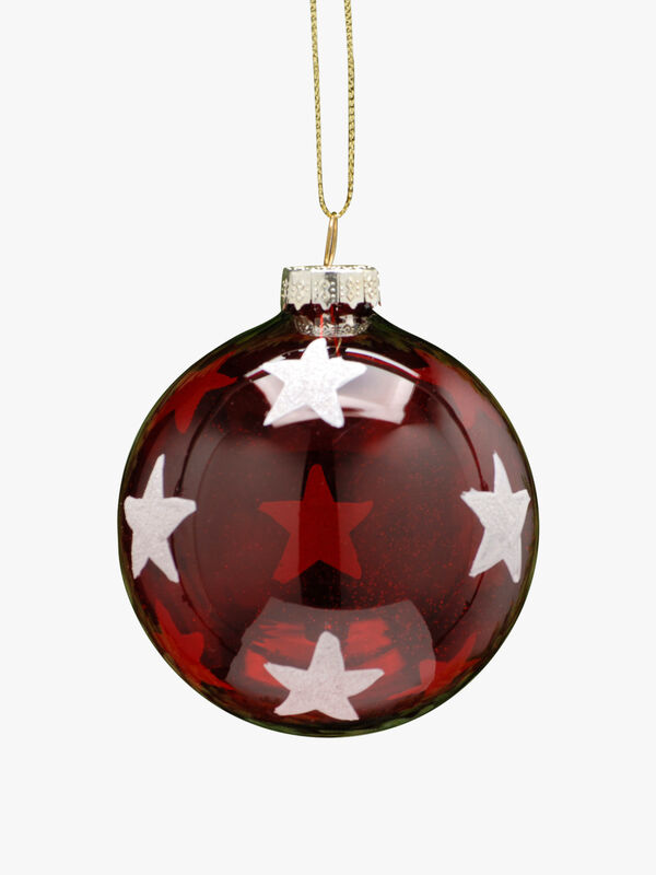 Transparent Red With White Stars Christmas Decoration
