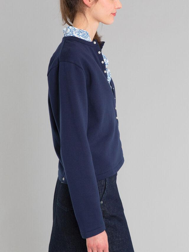 the classic  cotton fleece snap cardigan