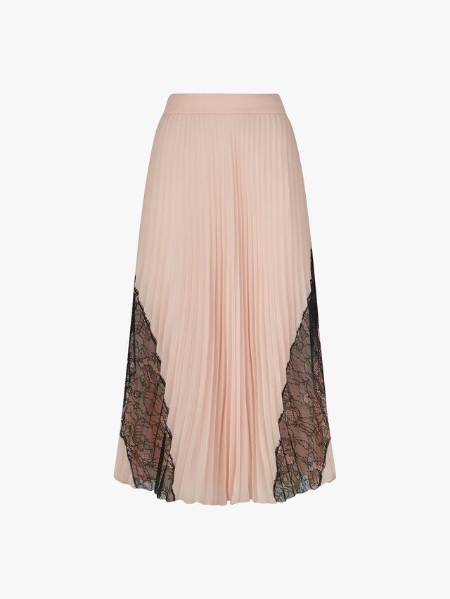Lace Insert Midi Skirt