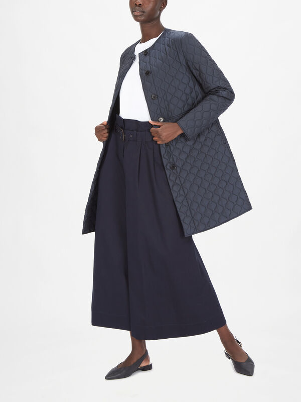 Quilted Button Down Flared Coat