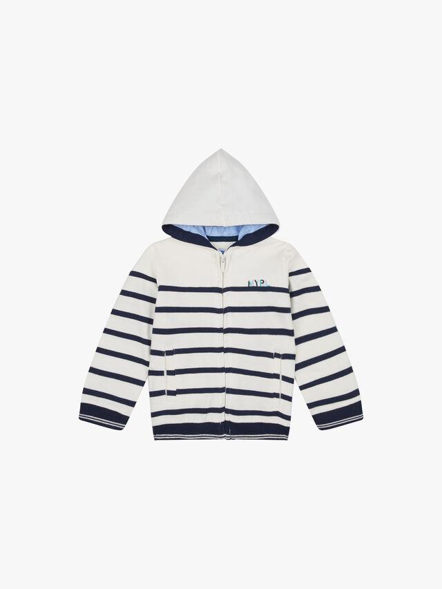 Stripe Hooded Zip Up