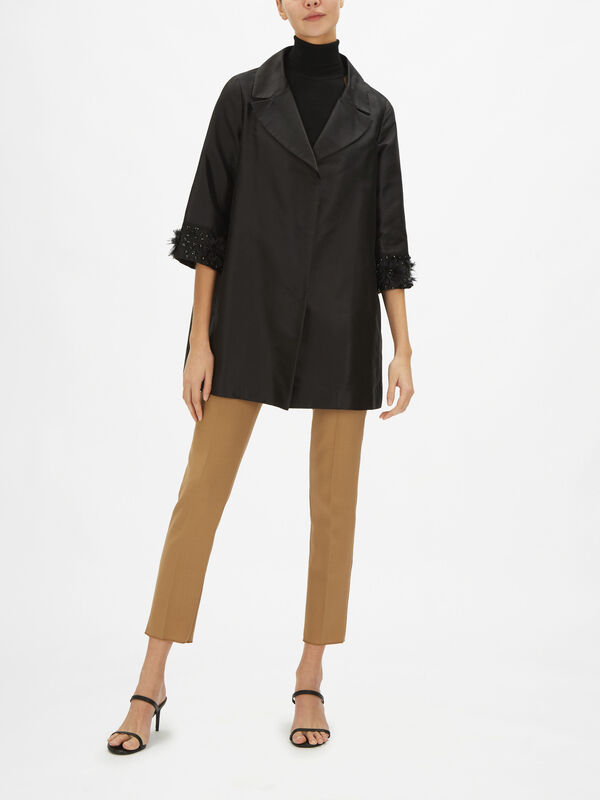Duster Coat with Embellished Sleeves