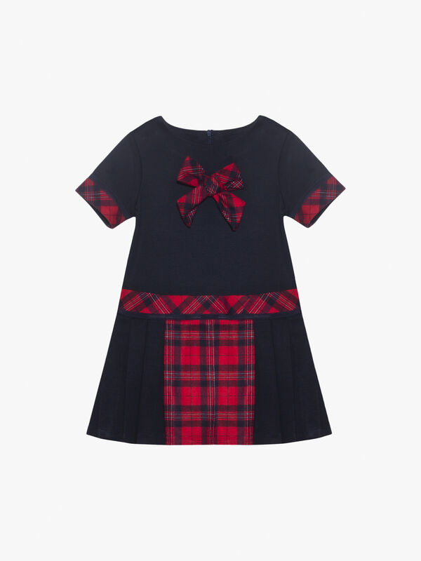 Short Sleeve Tartan Trim Dress