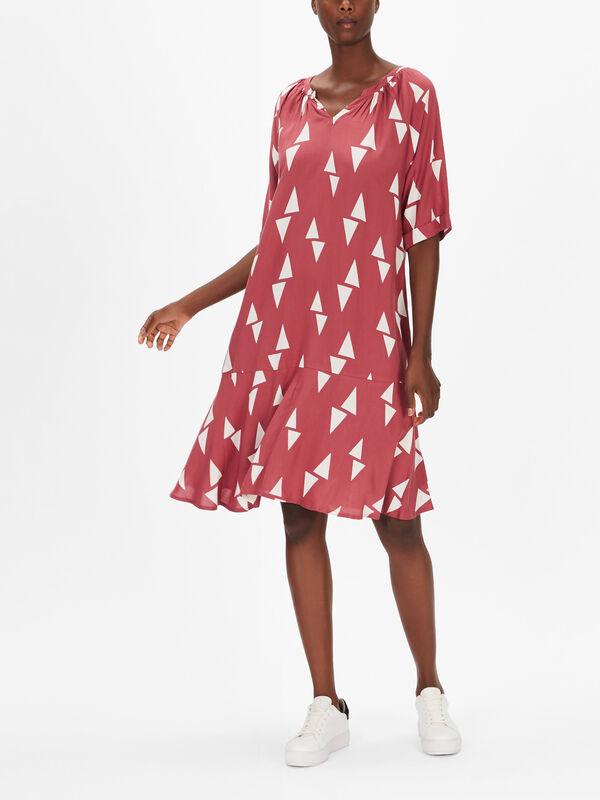 Nebis Triangle Print Swing Dress