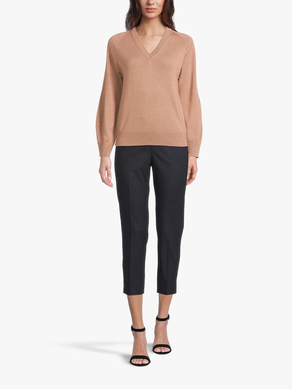V Neck Fine Knit Sweater