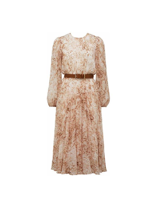 Fiona Pleat Belted Midi Dress