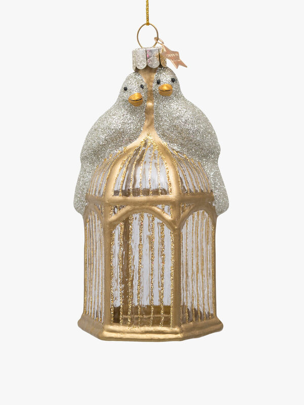 Birds On Cage Christmas Decoration