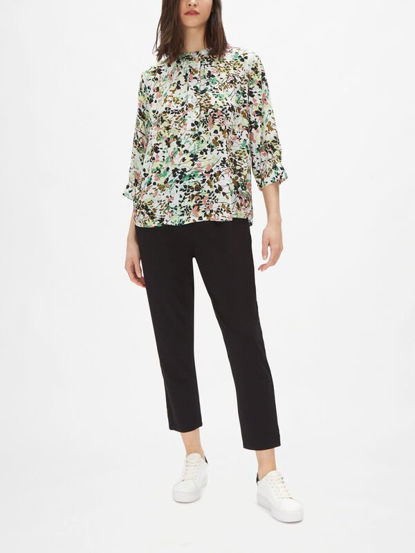 Delly Abstract Floral Blouse with Mandarin Collar