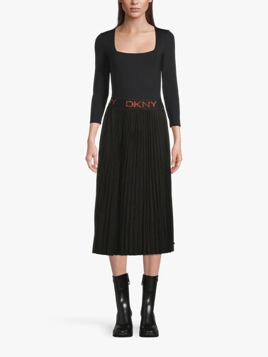 Logo-Band-Suede-Pleated-Midi-Skirt-P1HNXCVM
