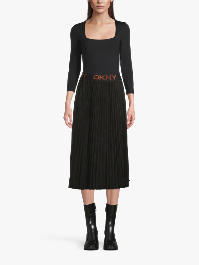 Logo Band Suede Pleated Midi Skirt