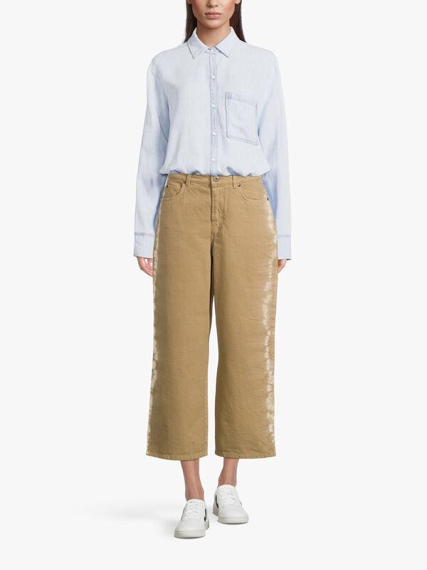 Amepzzo Tie Dye Trim Wide Leg Jeans