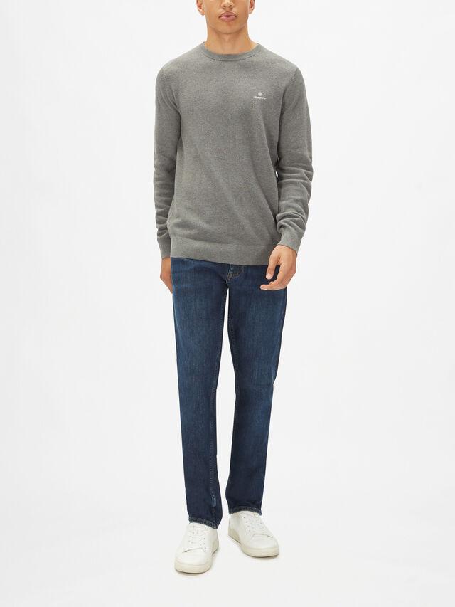 Cotton Piqué Crew Neck Sweater