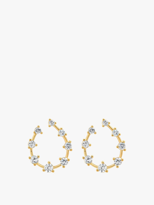 Scattered CZ Front Facing Hoop